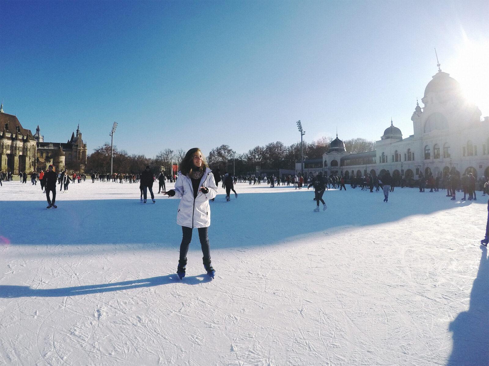patinando no gelo em budapeste