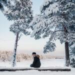 Mulher em um tronco coberto de neve de frente para lago congelado Inari, finlândia